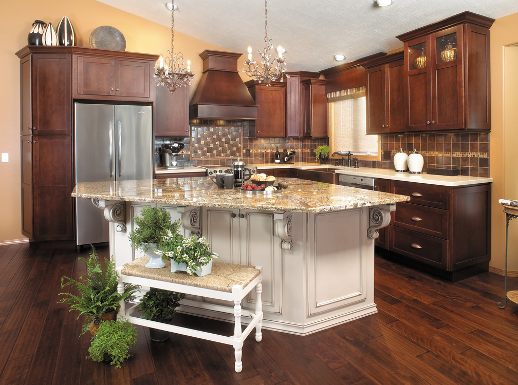 Dark brown kitchen cabinets with white island pdf plan download free woodworking plans - White kitchen with dark island ...
