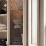 Cabinet door with wire mesh