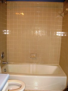 Before: beige tile with a pinkish tone